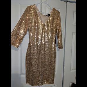 Lulu's Rose Gold Sequins Dress